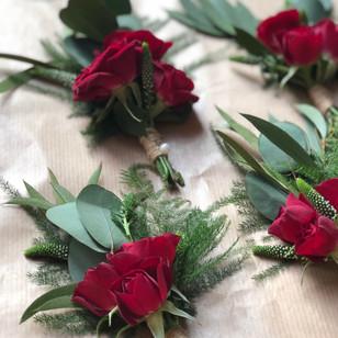 Valentines wedding Buttonholes