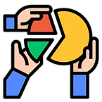 hands giving segments to a whole circle