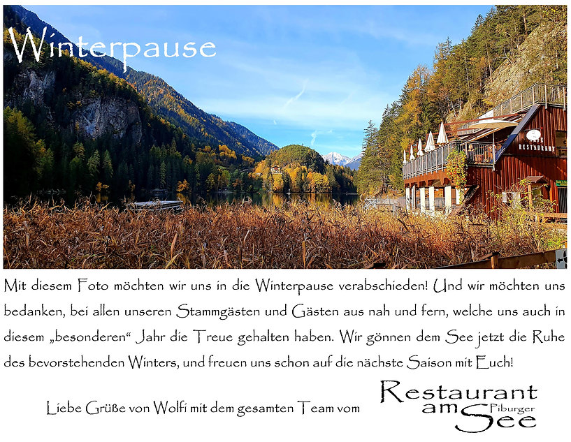 Piburger See; Restaurant; Oetz; Piburg; Winterpause