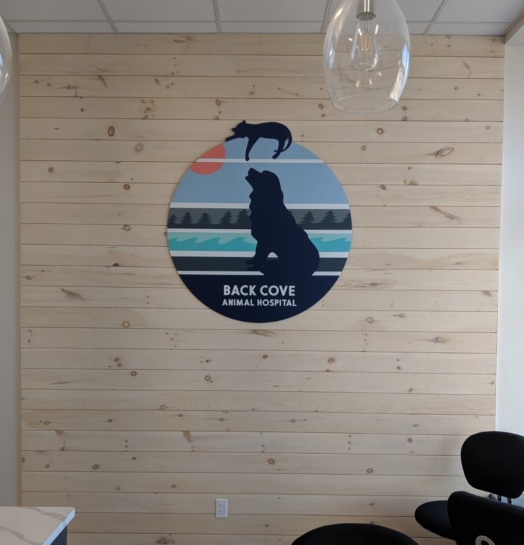 Interior wall logo for veterinary office in Portland, ME