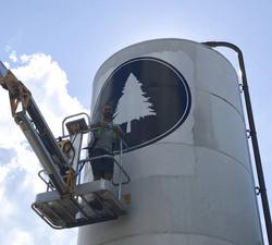 Brewery silo wrap in Gorham, Maine