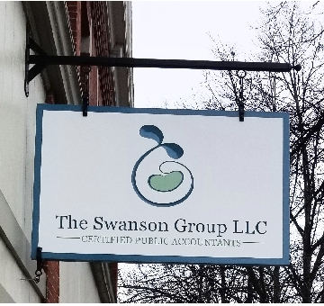 Outdoor hanging sign for business in Westbrook, ME
