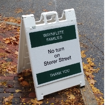 A frame sandwich board sign for Waynflete School