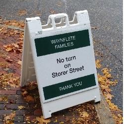 A frame sandwich board sign for Waynflete School