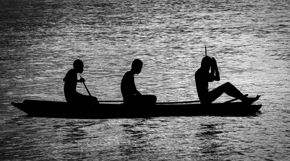 Rosemarie Edwards - Three boys in a canoe (HONOUR)