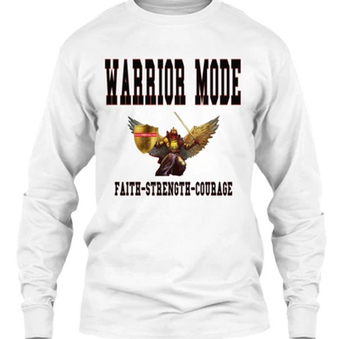 Warrior Mode Long Sleeve T shirt - White With Angel