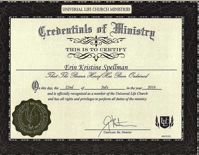 Minister License Creddential Certificate