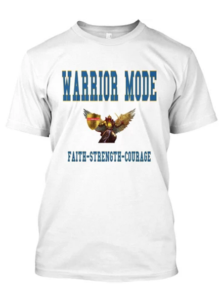 White and Torquois Warrior Mode Long Sleeve Tshirt