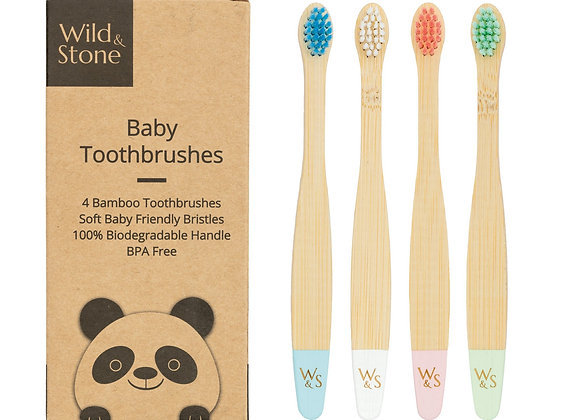 Baby bamboo toothbrushes. Multicolour. Wild & Stone at Fill Them Up
