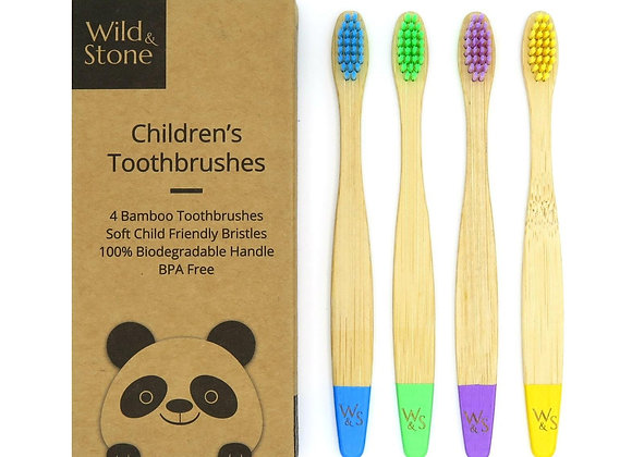 Children's Bamboo Toothbrush - 4 Pack - Multi-Colour. Wild and Stone. At Fillthemup