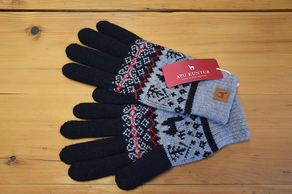 Handschuhe Alpaka grau schwarz