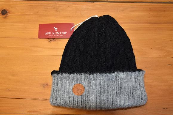 Mütze Alpaka grau/schwarz