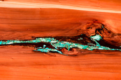 Redwood and Turquoise Table