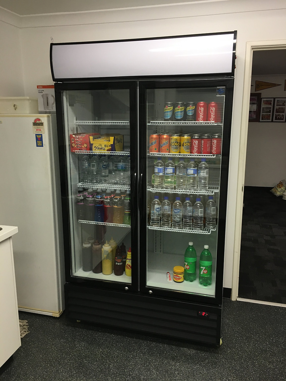 Picture of a fridge and contents in the clubroom