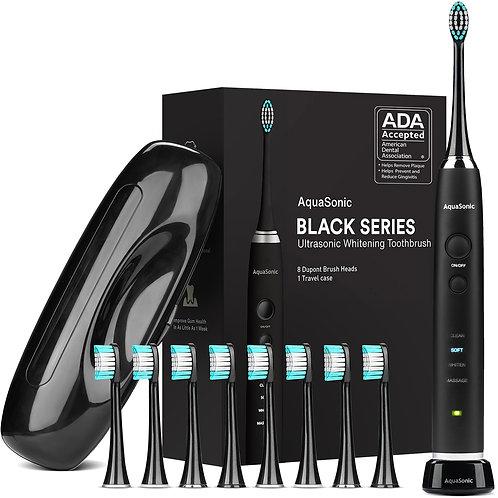 AquaSonic Black Series Ultra Sonic Whitening ToothBrush w/ 8 Dupont Brush Heads