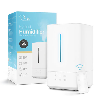 Ultrasonic Warm and Cool Mist Humidifier - Whisper Quiet, 5L Top Fill Vaporizer