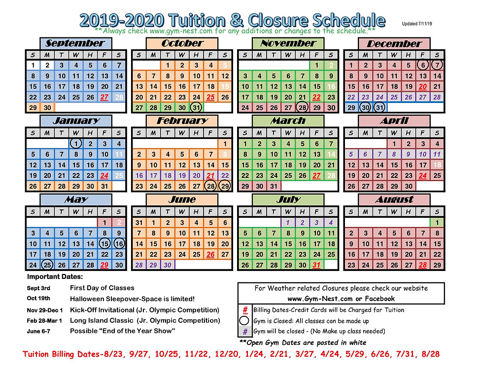 Tuition & closure schedule  19-20-color.