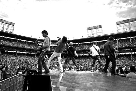 On tour, performing at Wrigley Stadium in Chicago, home of the Chicago Cubs