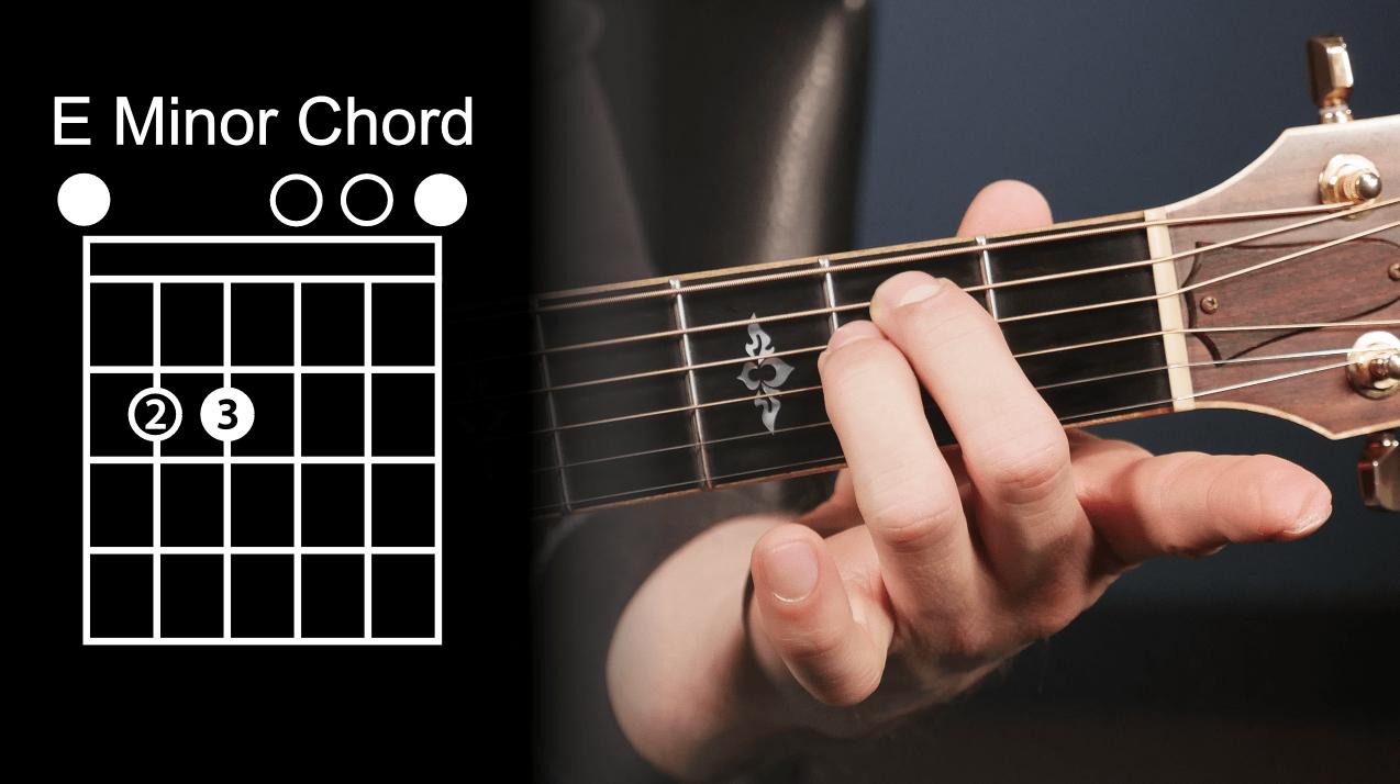 How to play E minor guitar chord.