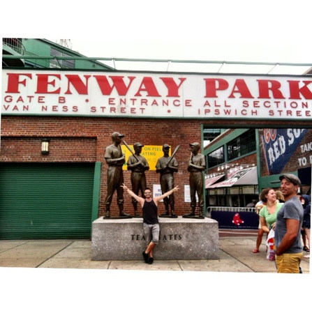 Derek Williams at Fenway in Boston with Jake Owen
