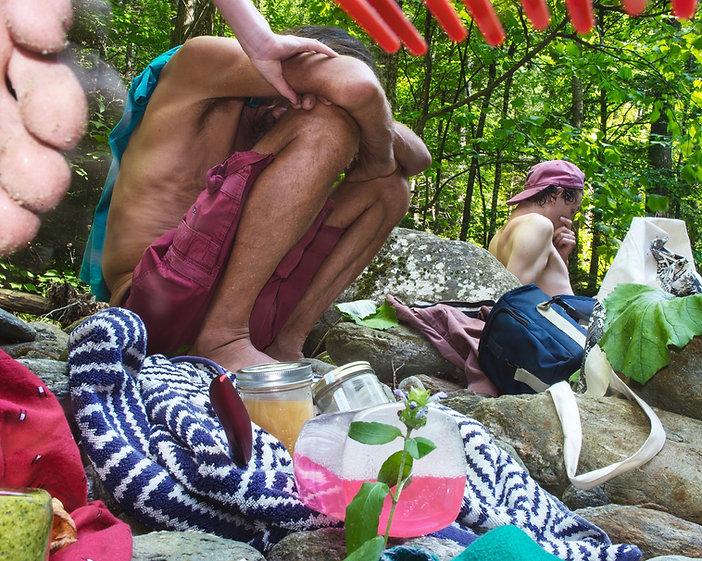 Men, sitting, food, liquids, foot, rocks, woods, nature, plants, hand, bag, red, pink, green