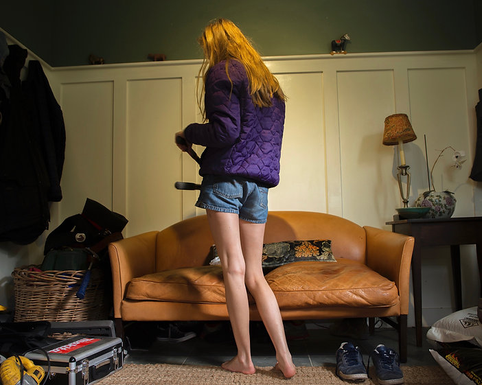Girl, jacket, mud room, bench, lamp, shorts, legs, tools, shoes