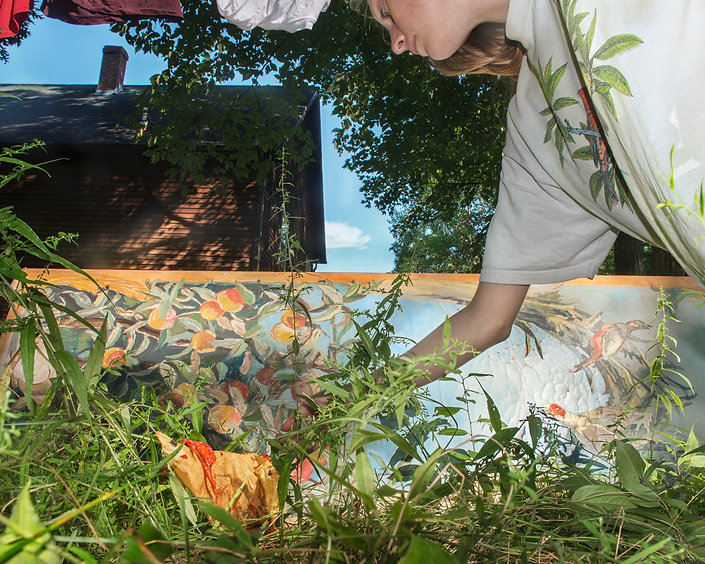 Painting, house, hand, leaning, sirt, plants, fruit, blue sky