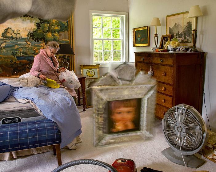 Room, lady, photograph, vacume, paintig, dresser, mirror, magazine, bag, bed