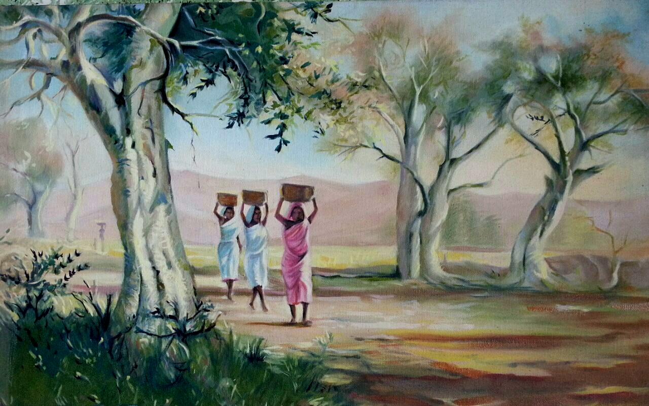 village-life-oil-paintings