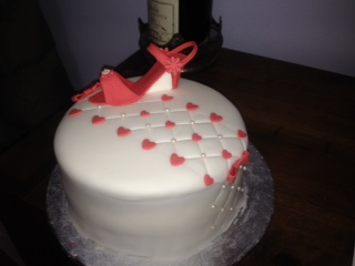 Shoe and hearts cake