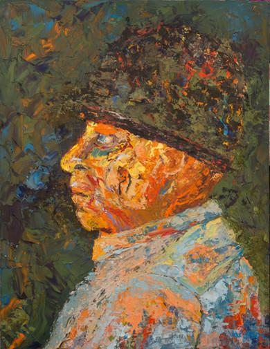 Man in Green Hat 18x24