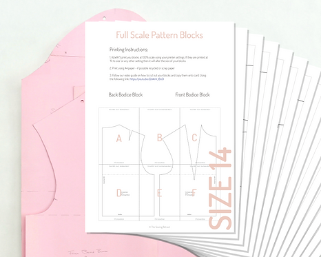 Printable Bodice and Sleeve Pattern Blocks - Size 14 UK/ Size 42 EU
