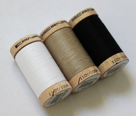 Neutral Set of 3 Sewing Threads - 100% Organic Cotton