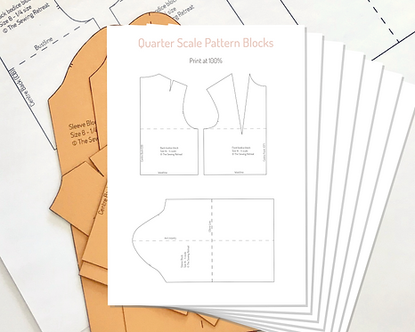 Printable Quarter-Scale Bodice and Sleeve Pattern Blocks