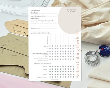 Printable Pattern Cutting Checklist and Sewing Pattern Organiser
