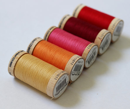 Sunrise Set of 5 Sewing Threads- 100% Organic Cotton
