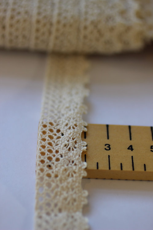 Lace Trim 20mm & 17mm Wide Made From 100% Organic Cotton