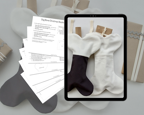 Dog Bone Christmas Stocking PDF Sewing Pattern & Instructions