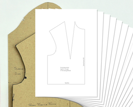 Printable Half-Scale Bodice and Sleeve Pattern Blocks