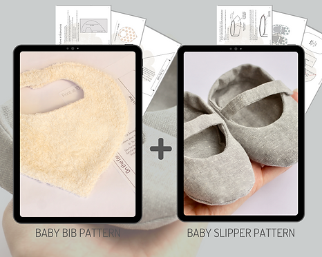 Baby Sewing Pattern Bundle Including our Baby Slipper Pattern & Baby Bib Pattern