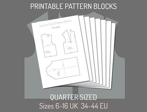 Printable Quarter-Sized Bodice and Sleeve Pattern Blocks