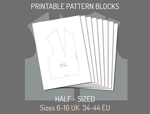 Printable Half-Sized Bodice and Sleeve Pattern Blocks