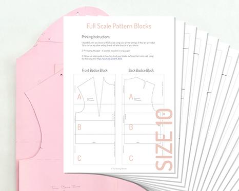 Printable Bodice and Sleeve Pattern Blocks - Size 10 UK/ Size 38 EU