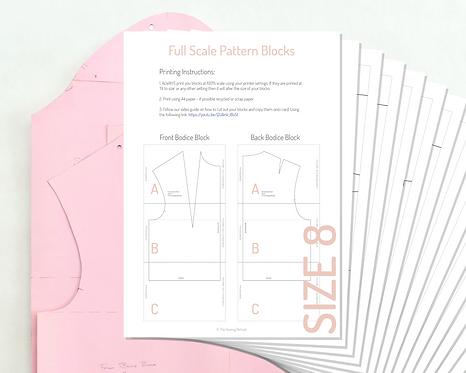 Printable Bodice and Sleeve Pattern Blocks - Size 8 UK/ Size 36 EU
