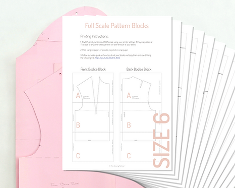 Printable Bodice and Sleeve Pattern Blocks - Size 6 UK/ Size 34 EU