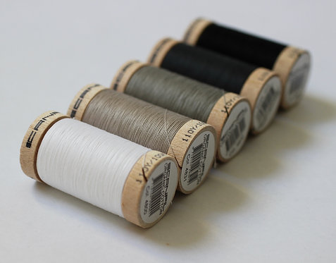 Neutral Set of 5 Sewing Threads- 100% Organic Cotton