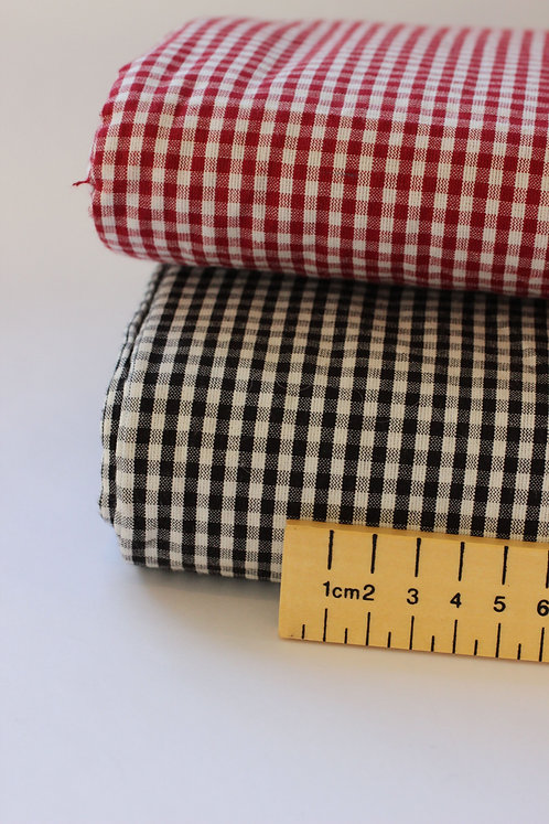 Red and Black Gingham Check Cotton Fabric - 100% Organic Cotton