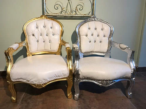 Child's Small White and Silver Throne Chair