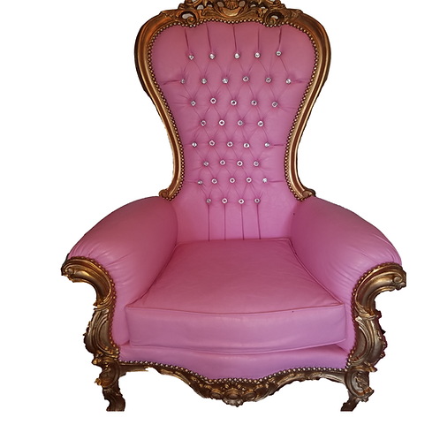 Large Pink and Gold Throne Chair