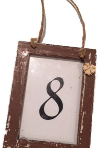 Vintage Hanging Frame Table Number